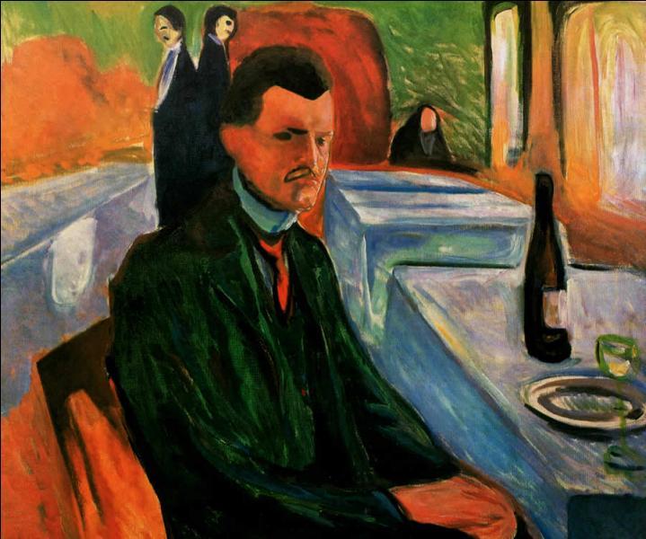 C'est en 1906, à 43 ans que ce peintre , à qui on doit le célèbre tableau  Le Cri , réalise  Autoportrait à la bouteille de vin . Qui est-il ?