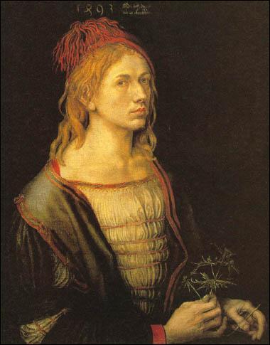 Il incarne l'humanisme de la Renaissance, croit en son génie, et a peint un grand nombre d'autoportraits. Le voici représenté à l'âge de 22 ans dans  Portrait de l'artiste tenant un chardon , en 1493.