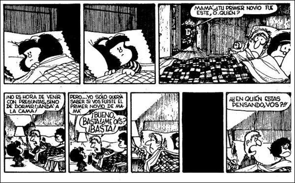 Devinez, devinez... un autre petit effort, l'espagnol est accessible aussi ! Quel est le sujet épineux de la question que pose Mafalda à son père et qui finit par lui gâcher la nuit de repos ?