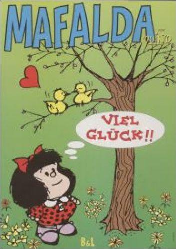 Et voilà que cette visite de l'ineffable Mafalda sur Quizz.biz arrive à sa fin. Elle ne s'adresse pas qu'aux deux tourtereaux, mais à nous aussi. Que nous dit-elle en allemand ?