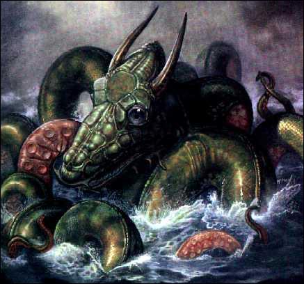 Une gigantesque créature marine dont la tête est affublée de cornes. C'est :
