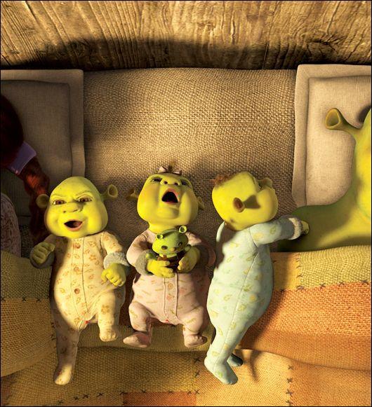 [Shrek 3] (**) Où Shrek fait-il le cauchemar d'avoir une centaine de bébés chez lui ?