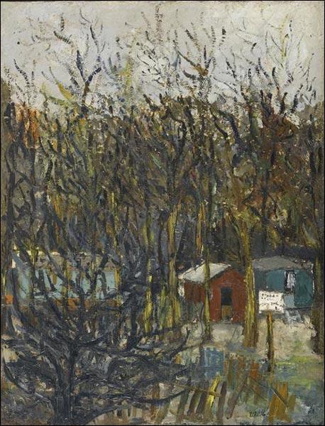 Peintre français de paysages urbains, mais aussi de décors de théâtre, fils d'une autre grande artiste, il a réalisé  La butte Pinson  vers 1905. De qui s'agit-il ?