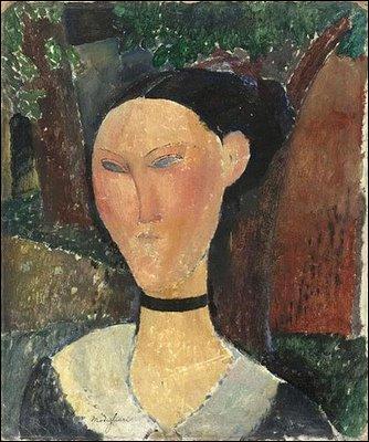 Quel peintre dont la particularité est de représenter des visages aux formes étirées, a représenté cette  Femme au ruban de velours  ?