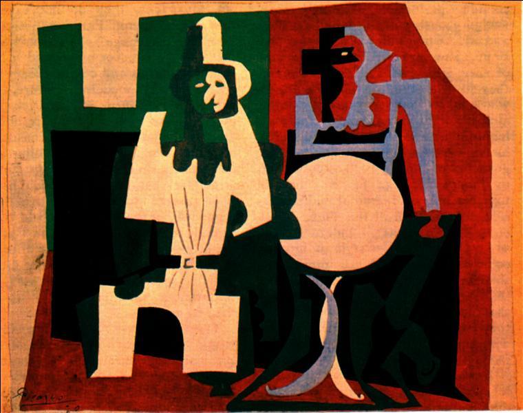 A quel peintre ayant souvent représenté ces deux personnages, doit-on  Pierrot et Arlequin à la terrasse de café , réalisé en 1920 ?
