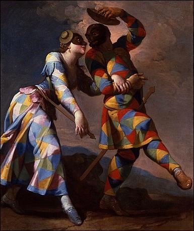 Ce peintre italien du 18ème siècle est issu de l'école florentine de la période rococo, et a peint beaucoup de fresques. On lui doit  Arlequin et Colombine . Il s'agit de :