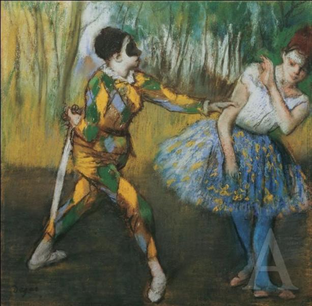 Quel peintre impressionniste, dont un des thèmes favoris est la danse, a peint ce tableau  Arlequin et Colombine  ?