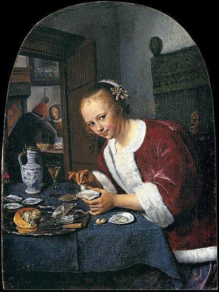 """Peintre néerlandais, représentant du mouvement baroque, figure importante des peintres de genre du 17ème siècle, il a représenté cette """"Mangeuse d'huitres"""" vers 1658. Qui est-il ?"""