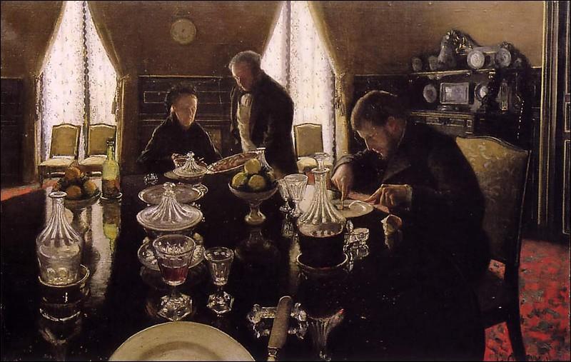 """Passionné de nautisme, cet artiste a aussi peint quelques scènes familiales, comme cette toile intitulée """"Le déjeuner"""", où sont représentés sa mère et son frère René. De qui s'agit-il ?"""