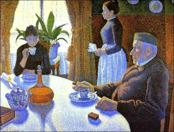 """Il est à l'origine du mouvement pointilliste, et a mis au point la technique du divisionnisme. Qui est ce peintre à qui on doit """"Le petit déjeuner"""" ? ,"""