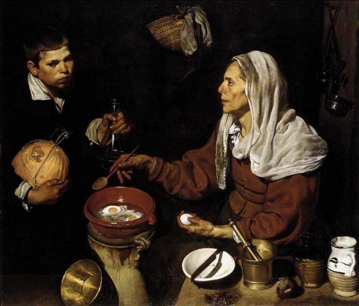 """"""" Vieille femme faisant frire des oeufs"""" est l'oeuvre d'un des principaux représentants de la peinture espagnole du 17e siècle. De qui s'agit-il ?"""