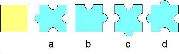 Quelles figures ont la même aire que le carré jaune ?