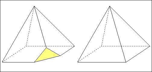 La pyramide de droite, possède 8 arêtes. Julien, tronque chacun des sommets, sauf celui du haut, comme sur la figure de gauche. Combien d'arêtes aura le solide ainsi constitué ?