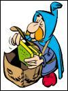 Dans  Astérix et les Normands  Le postier ... apporte à Abraracourcix une lettre le prévenant de l'arrivée de son neveu.
