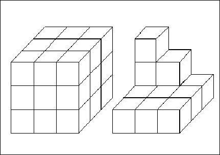 Les deux solides représentés ci-contre sont constitués de cubes tous identiques. Il faut 5,4 kilos de peinture pour peindre le cube de gauche entièrement (aussi la face du dessous). Combien de kilos de peinture faut-il pour pei