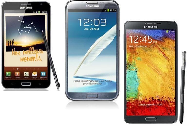 Quiz Samsung 54 : Les Galaxy Note en photo