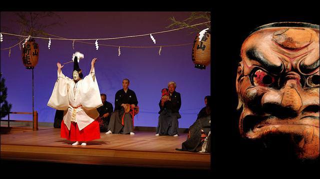 Maintenant allons au Japon. Au Moyen Âge, le japonais est aussi amateur de spectacles : marionnettes, jongleurs, acrobates. Une forme de théâtre est aussi très populaire chez les gens lettrés . Il s'agit du théâtre :