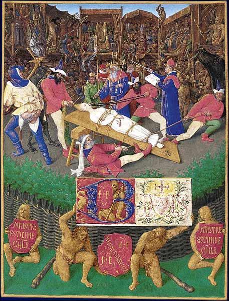 Revenons en France, à Valenciennes plus précisément, où fut joué en 1547  Le Mystère de la Passion . Pour retracer tous les périples on y récita 1 800 à 2 500 vers par jour pendant :