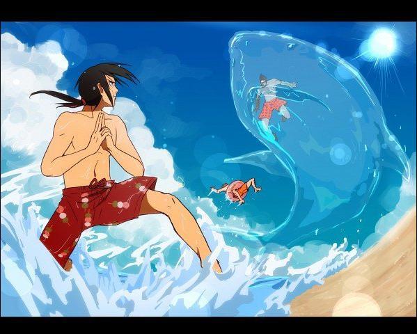 Encore à la mer ! Cette fois-ci, qui fait le jutsu du requin ? (Attention, petit piège. )