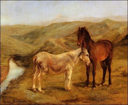 Un cheval et un âne dans un paysage de collines.