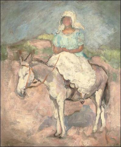 St-Jean-de-Monts, jeune femme sur un âne.