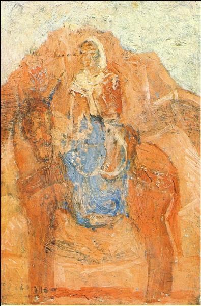 Femme sur un âne.
