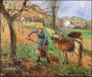 Paysanne avec un âne.
