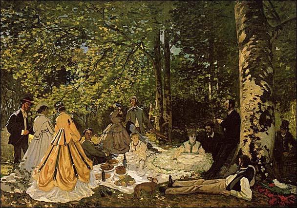 En 1865, Claude Monet commença à peindre ce tableau en réponse à celui de Manet.