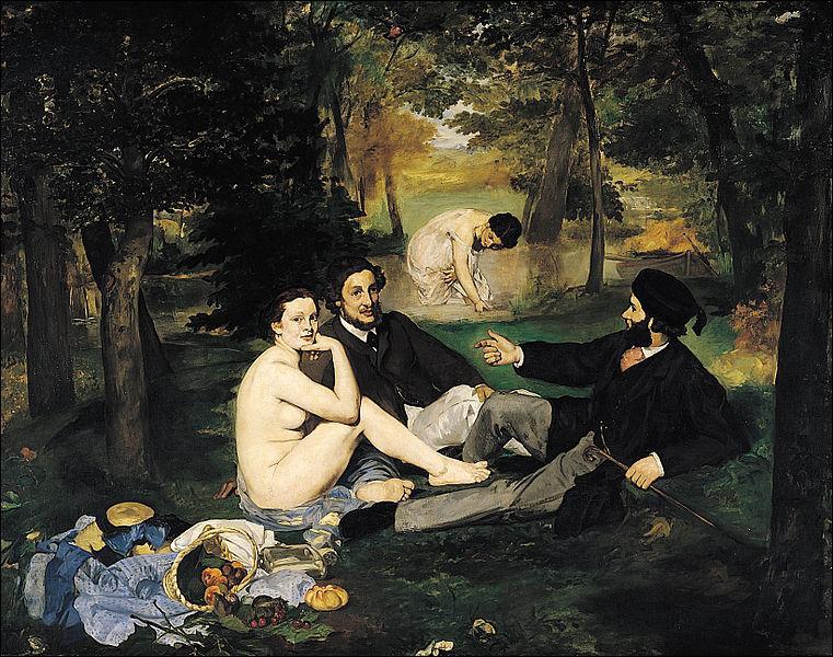 Lorsqu'il a été proposé au Salon de Paris , ce tableau d'Édouard Manet de 1863, a provoqué un scandale.