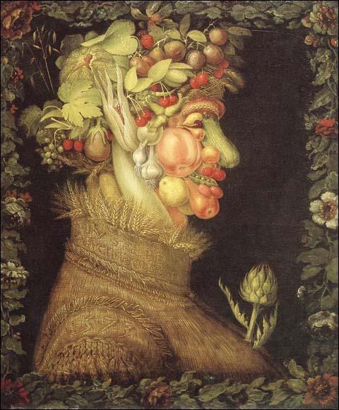 Ce tableau (1563) de Giuseppe Arcimboldo fait partie d'une série de quatre tableaux .