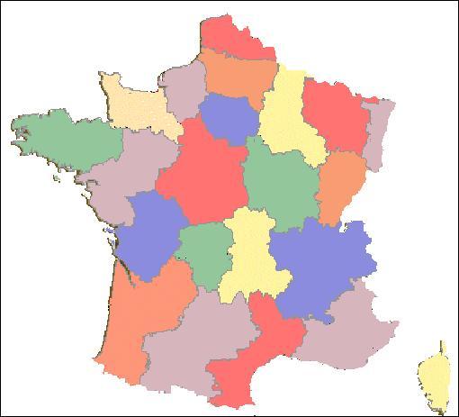 Parmi ces régions, laquelle n'est pas coloriée en jaune sur cette carte ?