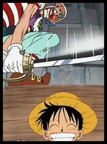 Épisode 52 - Luffy manque de se faire couper la tête par Baggy à l'endroit même où Gol D. Roger est mort, 22 ans auparavant. Qu'est-ce qui le sauve ?