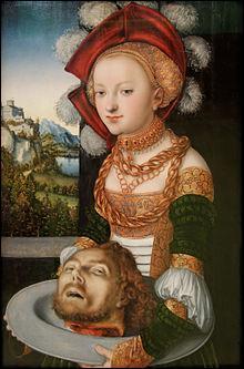Quel est le nom de la fille d'Hérodiade, qui est représentée sur ce tableau de Cranach l'Ancien, tenant la tête de Saint Jean-Baptiste sur un plateau ?