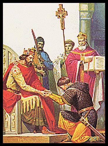 Concluons en vérifiant si vous avez bien compris... Sur cette illustration, comme sur le sceau ci-dessus, lequel est le vassal ?