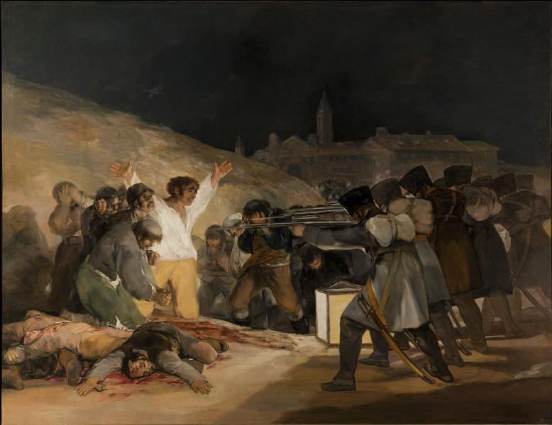 Le plus original des peintres d'Espagne a beaucoup produit. Il a peint, entre autres, la bêtise, la cruauté et l'inhumanité des hommes. La toile connue sous le nom de  El tres de mayo  montre l'exécution de combattants espagnols par les soldats de Napoléon. (3 mai 1808)