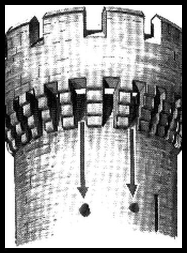 À partir des mâchicoulis, il était fréquent de jeter des projectiles divers (comme des pierres) sur les assaillants, en contrebas. Laquelle de ces matières étaient le moins utilisé malgré ce qu'on pense souvent ?
