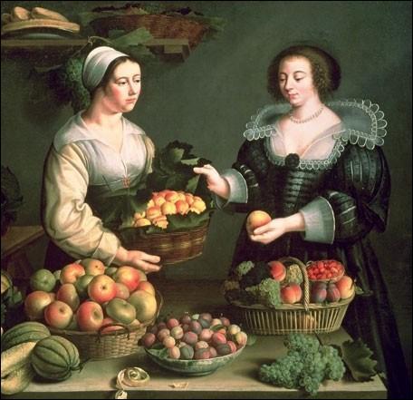 Elle se révèlera comme une des femmes peintres de natures mortes les plus marquantes de son époque, le XVIIe siècle. Cette Marchande de fruits et légumes  en est un témoignage...