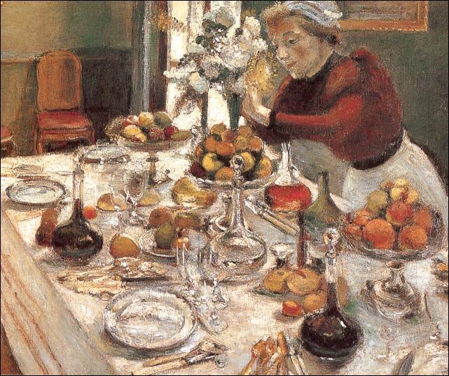 Ce  Diner  peint en 1897 par l'artiste, ne laisse rien apercevoir de la future orientation de ce peintre vers le fauvisme...