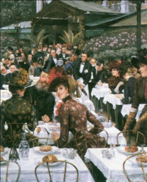 Cette représentation des  Dames de l'artiste  au restaurant est un tableau de 1885 de ce peintre né à Nantes en 1836...