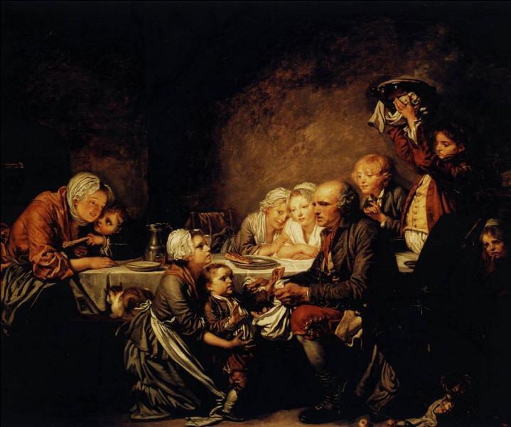 Auteur de nombreuses scènes de genre, quel peintre et dessinateur français du XVIIIe est l'auteur de cette toile intitulée :  Le gâteau des Rois  ?