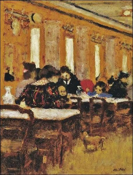 Le sujet de prédilection de ce peintre nabi, était la douce atmosphère de scènes de la vie quotidienne tel que ce  Petit restaurant  de 1894...