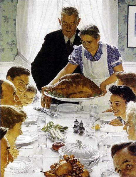 Et pour finir ce  Diner de Thanskgiving , est une oeuvre de quel célèbre illustrateur et peintre américain mort en 1978 ?