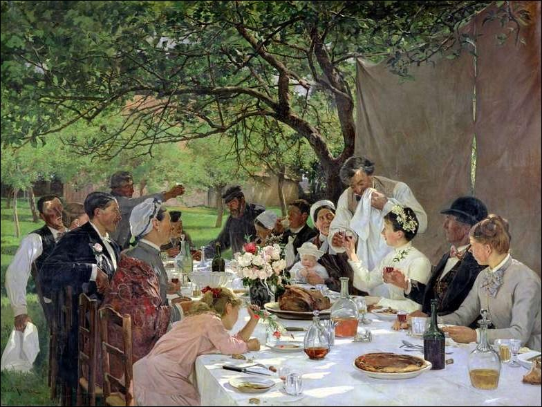 Témoignage charmant de la vie normande au XIXe siècle ,  Un repas de noces à Yport  est une oeuvre du peintre et sculpteur...