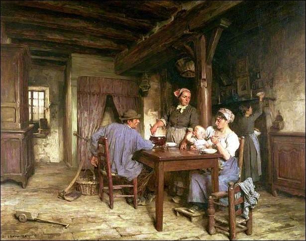 Qualifié de peintre naturaliste, quel artiste né au Mont-Saint-Père en 1844 est l'auteur de ce  Repas de midi  très rural ?