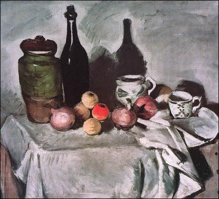 Le thème de la nature morte comme cette  Nature morte avec des fruits et la vaisselle  s'accorde au caractère de ce peintre, il retiendra particulièrement l'attention de l'artiste tout au long de sa carrière ...