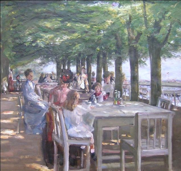 La Terrasse du restaurant Jacob  à Nienstedten au bord de l'Elbe, est une oeuvre de 1902 de quel peintre connu pour ses scènes de la campagne bavaroise ?