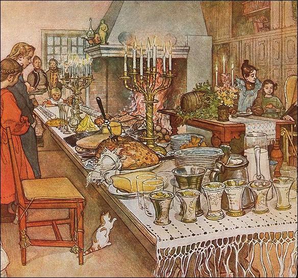 Par ces œuvres pittoresques et variées, ce dessinateur, illustrateur et peintre suédois, a su parfaitement exprimé ses scènes intimistes comme ce  Réveillon de Noël ...