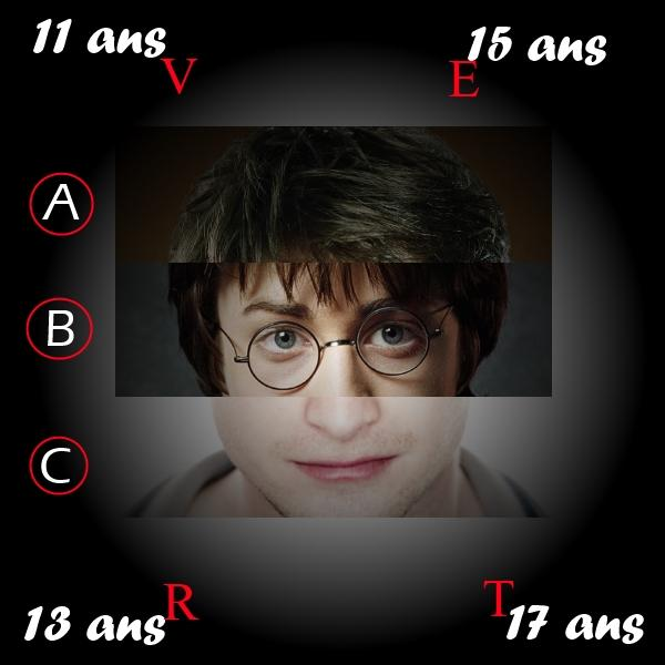 Quel âge a Harry sur la partie B de l'image ?