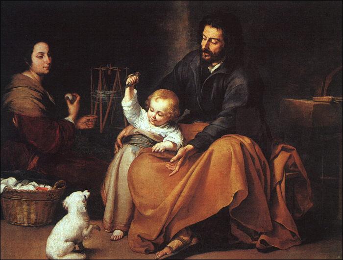 A quel peintre baroque espagnol du 17esiècle, renommé pour ses portraits, d'enfants pauvres, comme  Le jeune mendiant , doit-on cette  Sainte Famille , dite  à l'oisillon , exécutée en 1632 ?