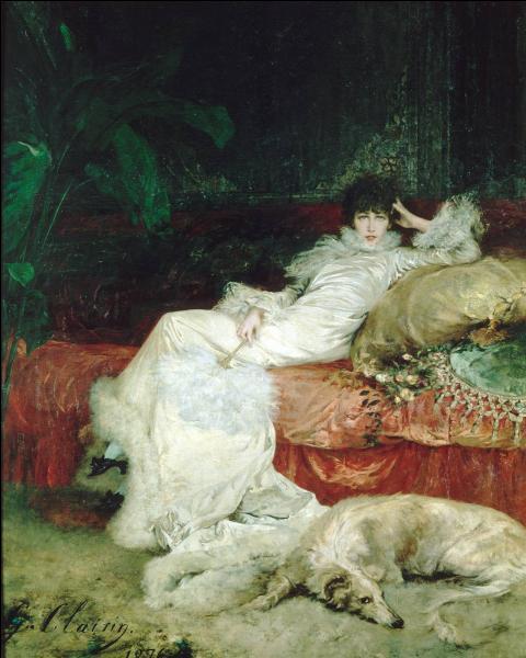 Peintre voyageur du 19e siècle il est surtout connu pour ses portraits de la grande actrice Sarah Bernhardt, comme celui-ci, exécuté en 1876, et exposé au Petit Palais. Qui est cet artiste ?